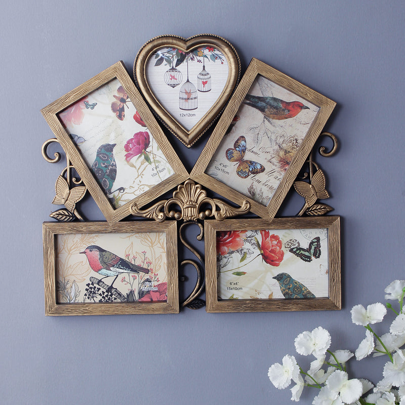 Victorian 5-Picture Family Photo Frame - Gold-HOME ACCESSORIES-PropShop24.com