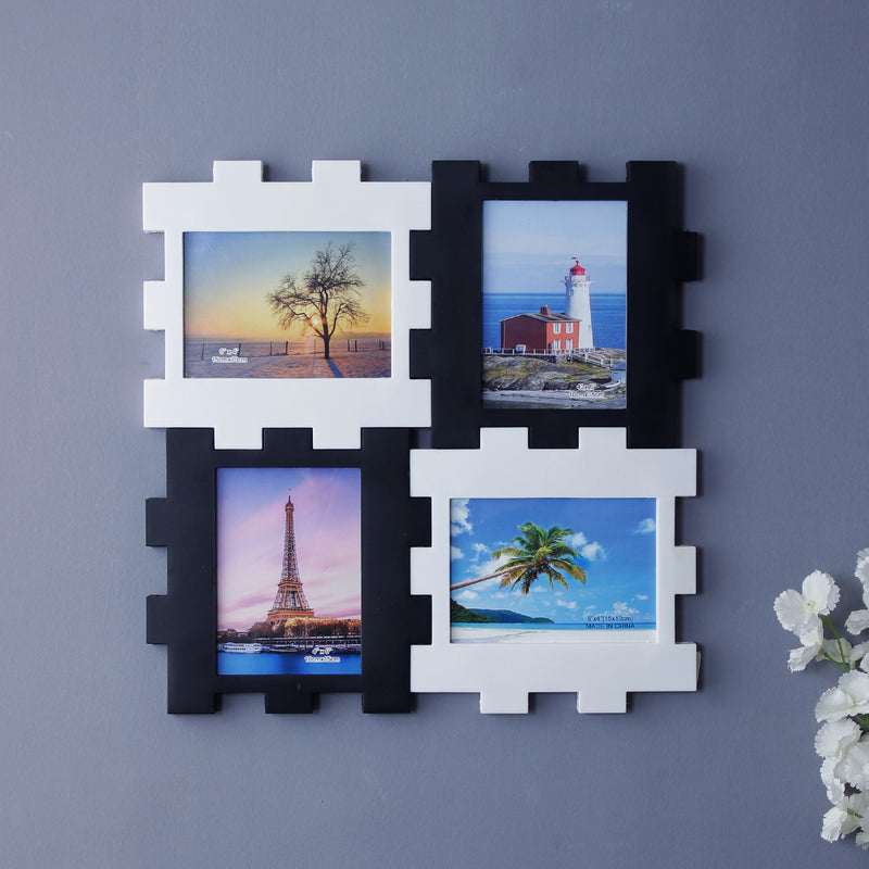Black And White 4-Picture Family Photo Frame-HOME ACCESSORIES-PropShop24.com