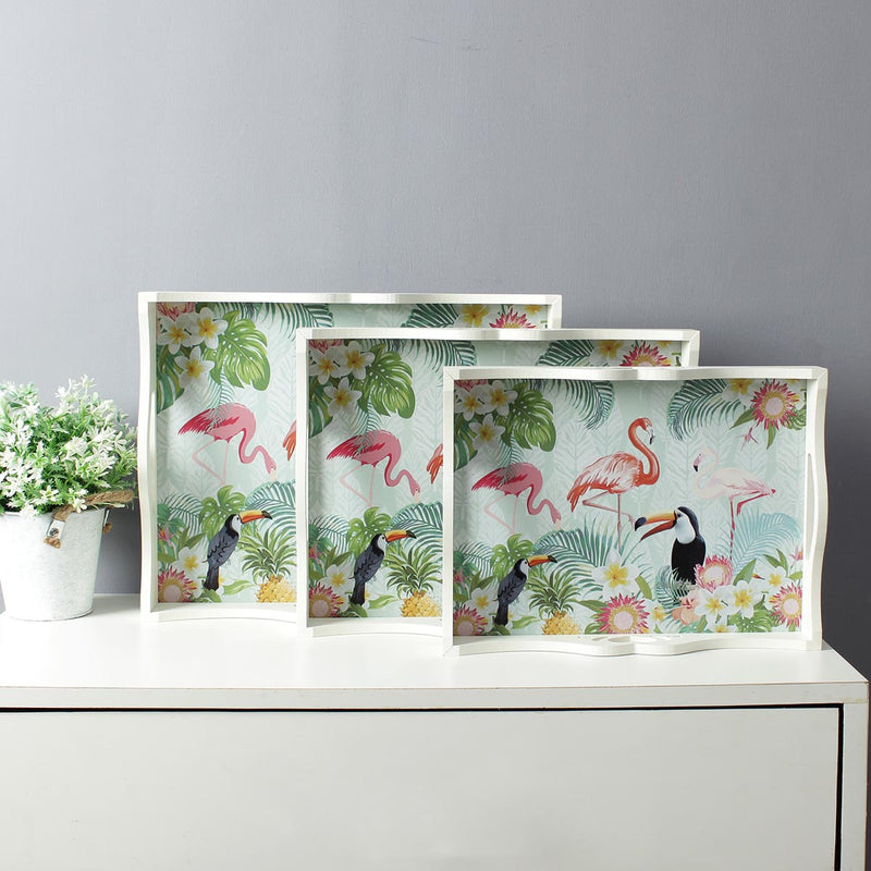 Large Jungle Flamingo Serving Trays - Set Of 3-DINING + KITCHEN-PropShop24.com