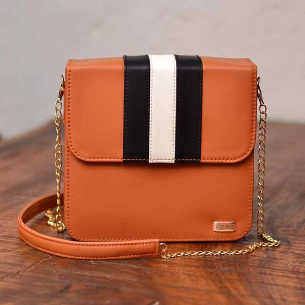 Sling Bag - Monochrome Stripes - Tan-FASHION-PropShop24.com