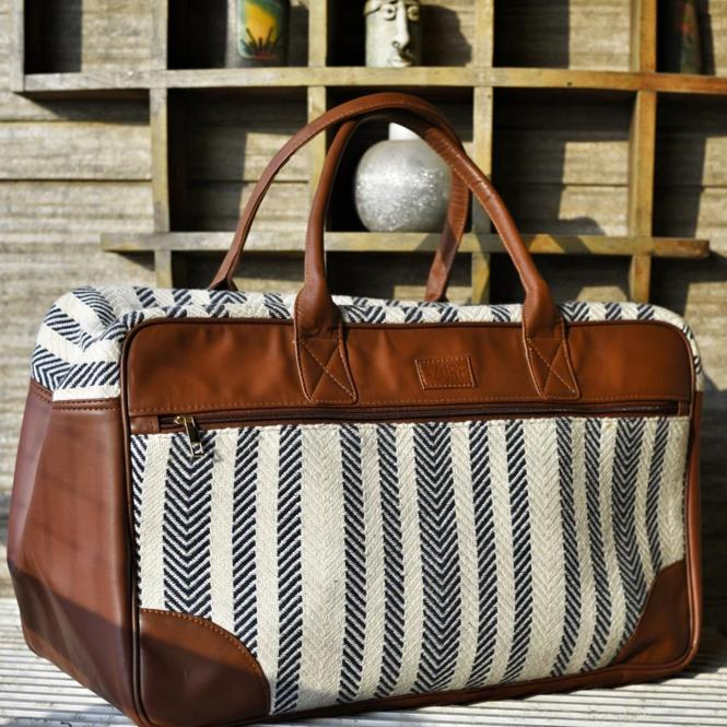 Duffle Bag - Stripes - Brown And White-WOMEN-PropShop24.com