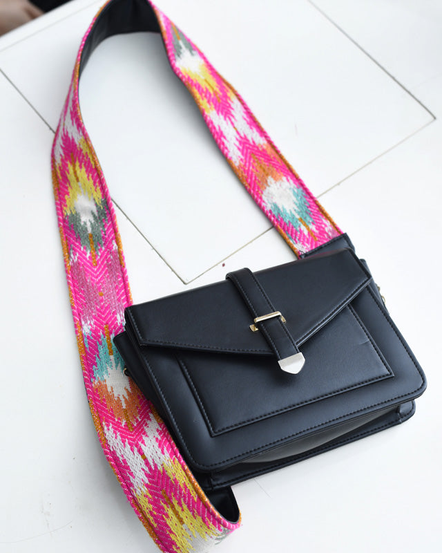 Sling Bag - Black With Pink Embroidered Belt-WOMEN-PropShop24.com