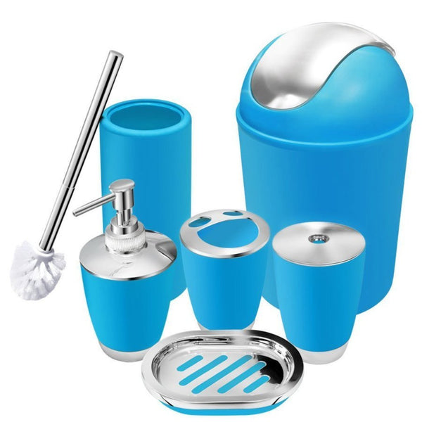 Bathroom Accessories - Blue - Set Of 6-Home-PropShop24.com
