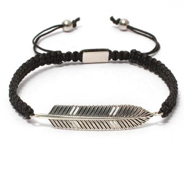 Bracelet-The Free Spirit Feather Bracelet in Macrame Drawstring-FASHION-PropShop24.com