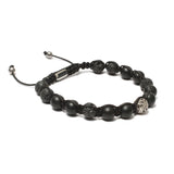 Bracelet-The Urban Pod Macrame Bracelet in Black Onyx Gemstones Silver-FASHION-PropShop24.com