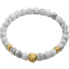 Bracelet-Lion Head Bracelet with Tribal Stoppers - White and Gold-FASHION-PropShop24.com
