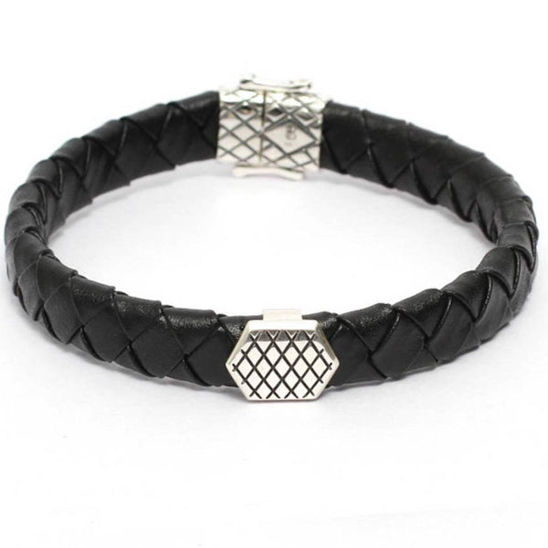 Bracelet-Mens Black Leather Bracelet with Cross Details Motif-FASHION-PropShop24.com