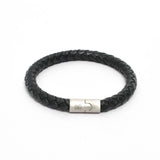 Bracelet-Round Braided Genuine Leather Bracelet - Black and Silver-FASHION-PropShop24.com