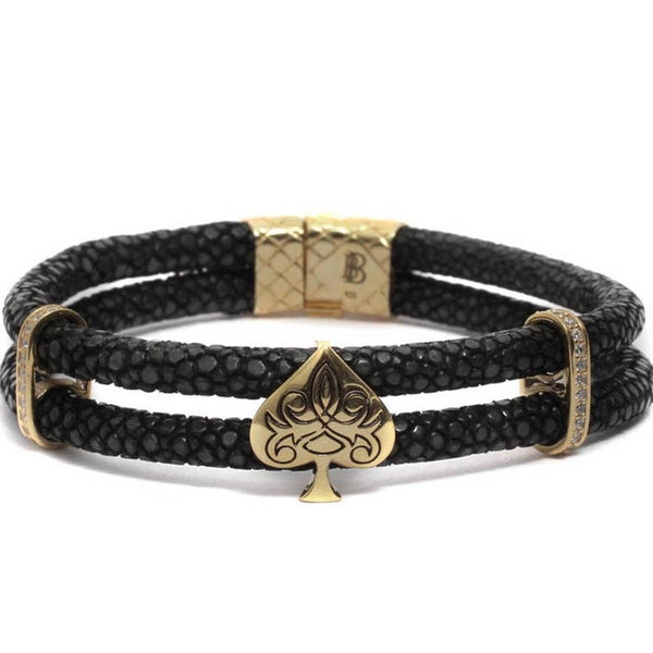 Bracelet-Golden Filigree Spade In Double Layered Exotic Leather - Black-FASHION-PropShop24.com