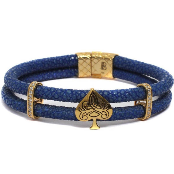 Bracelet - Golden Filigree Spade In Double Layered Exotic Leather - Blue-FASHION-PropShop24.com