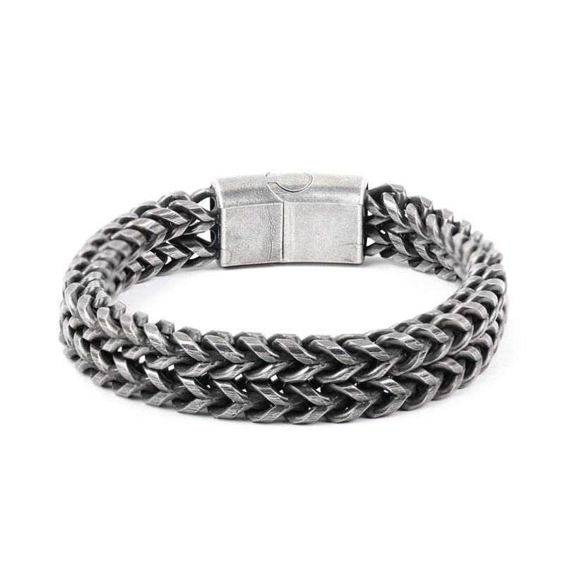 Oxidized Finish Stainless Steel Double Layer Chain Bracelet-MEN-PropShop24.com