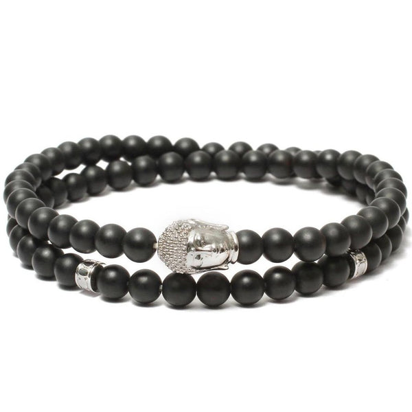 Bracelet-Buddha Double Wrap Bracelet in Black Onyx Gemstone Beads-FASHION-PropShop24.com