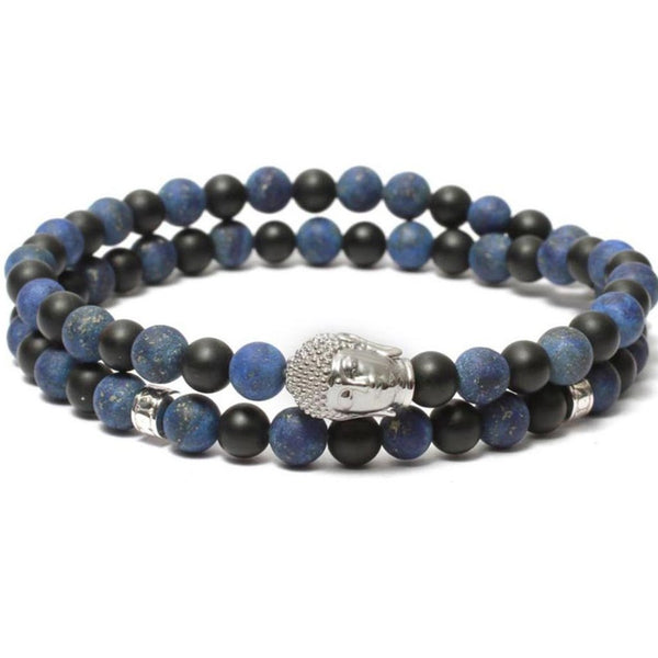 Bracelet-Buddha Double Wrap Bracelet in Black Onyx Lapis Lazuli Gemstone Beads-FASHION-PropShop24.com