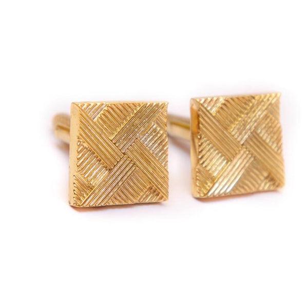 Cufflink-Cross Hatch Gold Cuff-FASHION-PropShop24.com
