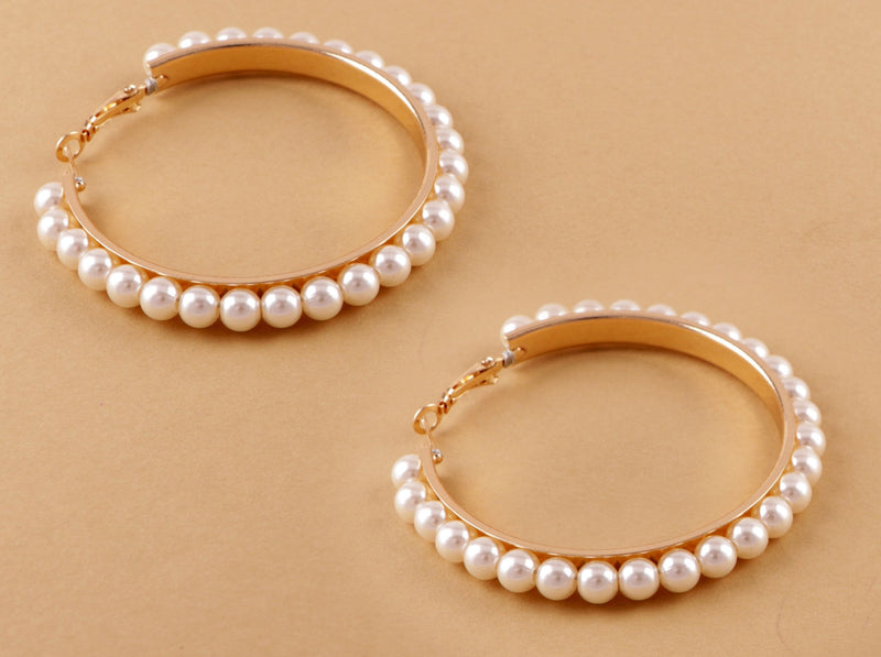 Designer Bali Earring With White Pearl-EARRINGS-PropShop24.com