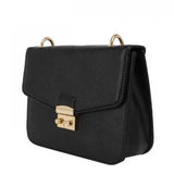 Bag: Agnes Black Crosshatch Textured Lock Sling-FASHION-PropShop24.com