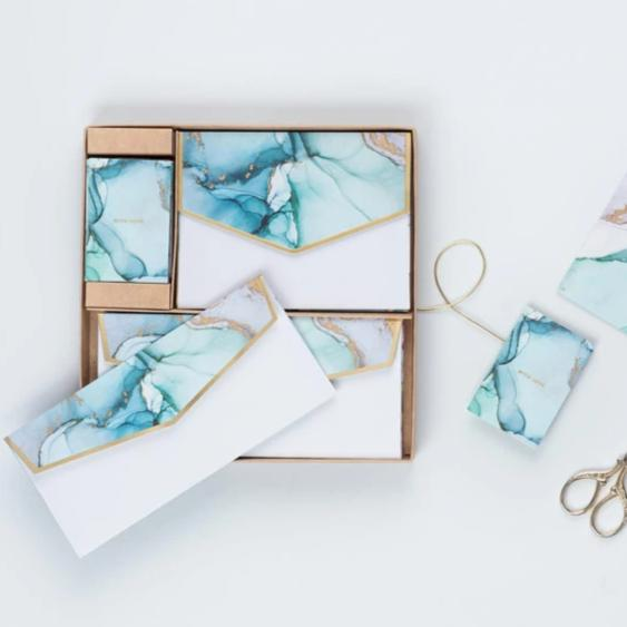 Blue Ink Marbling Box Set-GIFTING ACCESSORIES-PropShop24.com