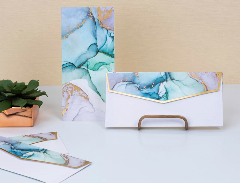 Money Envelopes - Blue Ink Marble - Set Of 20-GIFTING ACCESSORIES-PropShop24.com