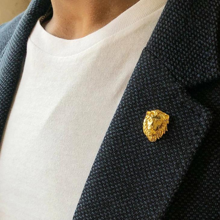 Gold Lion Head Lapel Pin-MEN-PropShop24.com