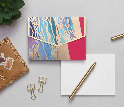 PERSONALISED - Notecard Set - bright marbled - C.O.D NOT AVAILABLE-STATIONERY-PropShop24.com