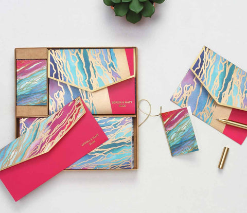 personalised Boxed Set - bright marbled - C.O.D NOT AVAILABLE-STATIONERY-PropShop24.com