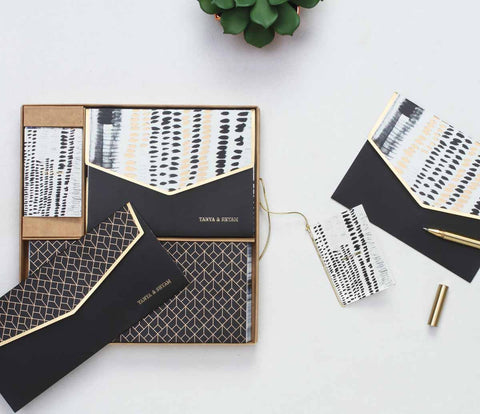 Geometric Boxed Set - black and white-STATIONERY-PropShop24.com