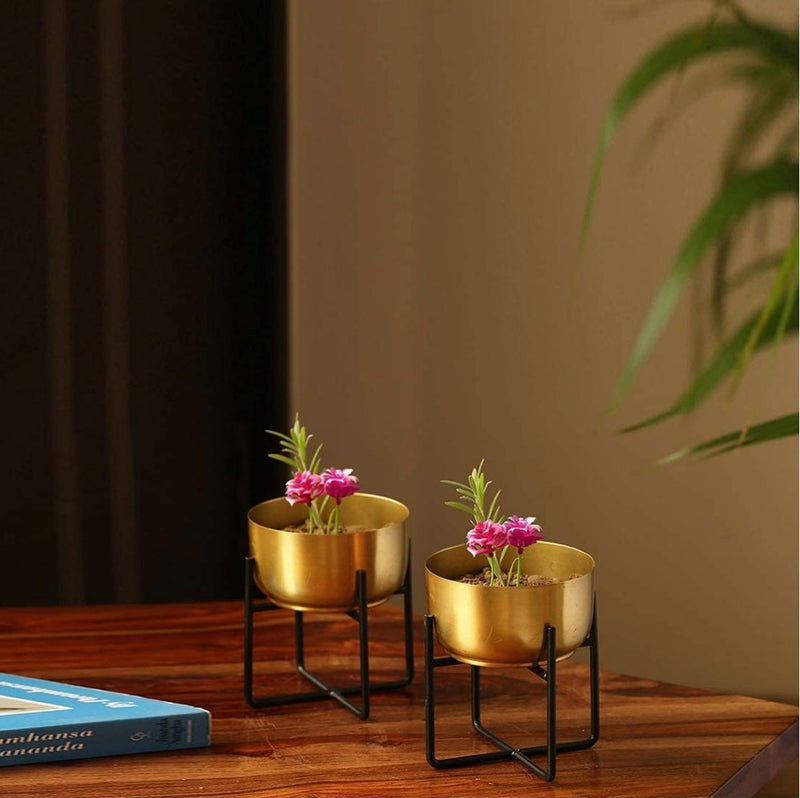 Bowl Desk Metal Planter - Set Of 2-HOME ACCESSORIES-PropShop24.com