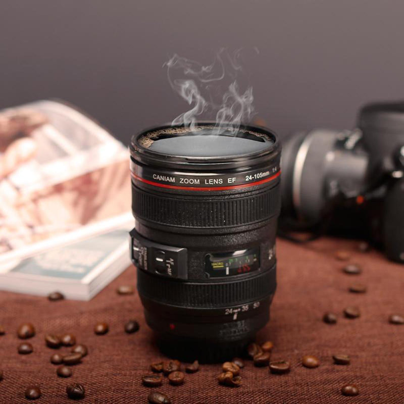 Camera Lens Mug / Flask With Cover - Black-DINING + KITCHEN-PropShop24.com