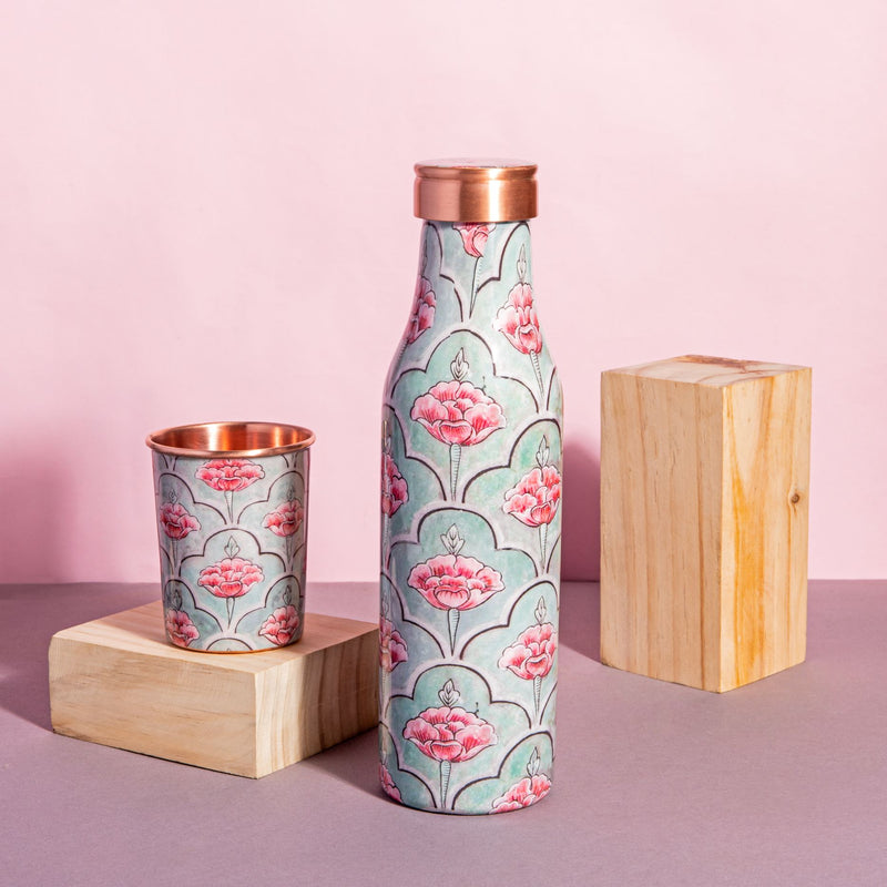 Copper Bottle - Blushing Floral-DINING + KITCHEN-PropShop24.com
