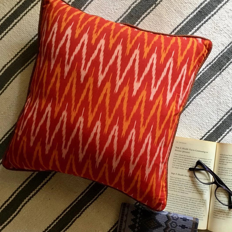 Cushion Cover - Red Orange Ikat With Plain Rust Piping-HOME ACCESSORIES-PropShop24.com