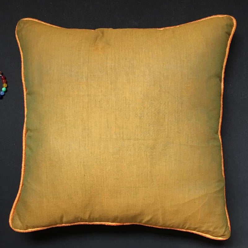 Cushion Cover - Plain Mustard Green Mangalgiri With Orange Mustard Piping-HOME ACCESSORIES-PropShop24.com