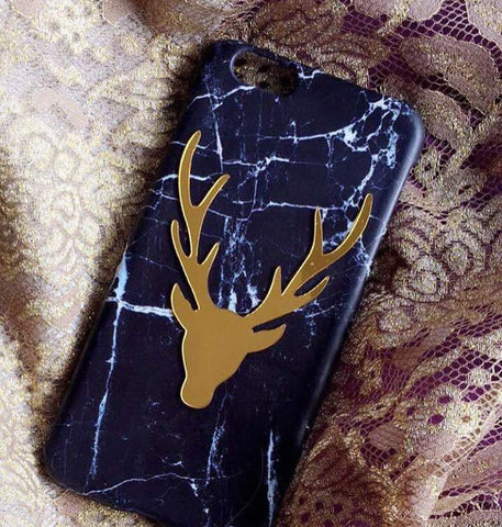phone cover - horns - gold plated - blue-GADGETS-PropShop24.com