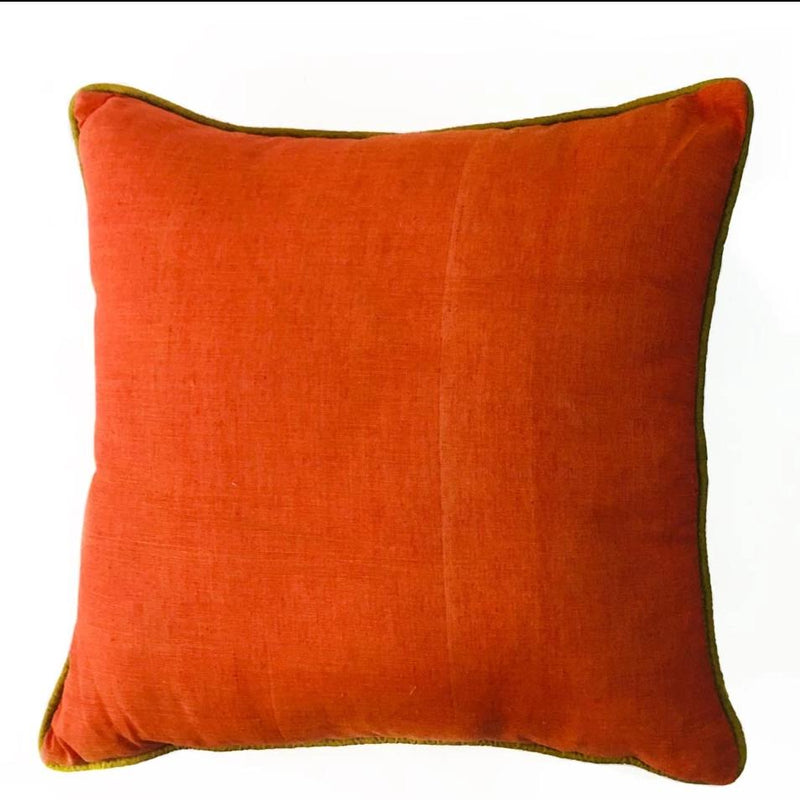 Cushion Cover - Plain Rust Mangalgiri With Olive Green Piping-HOME ACCESSORIES-PropShop24.com