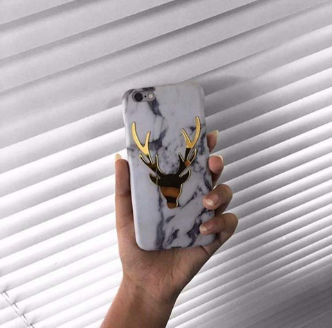 phone cover - horns - gold plated - white-GADGETS-PropShop24.com