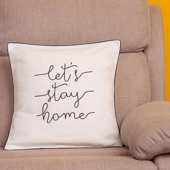 Cushion Cover - Lets Stay Home - White-HOME ACCESSORIES-PropShop24.com