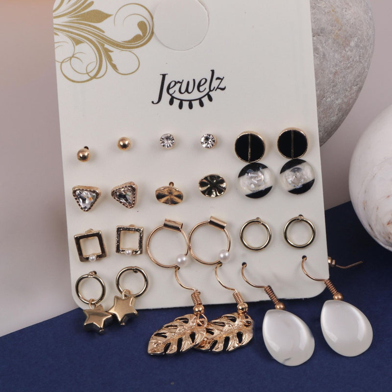 Earring Combo - Trendy - Set Of 12-EARRINGS-PropShop24.com