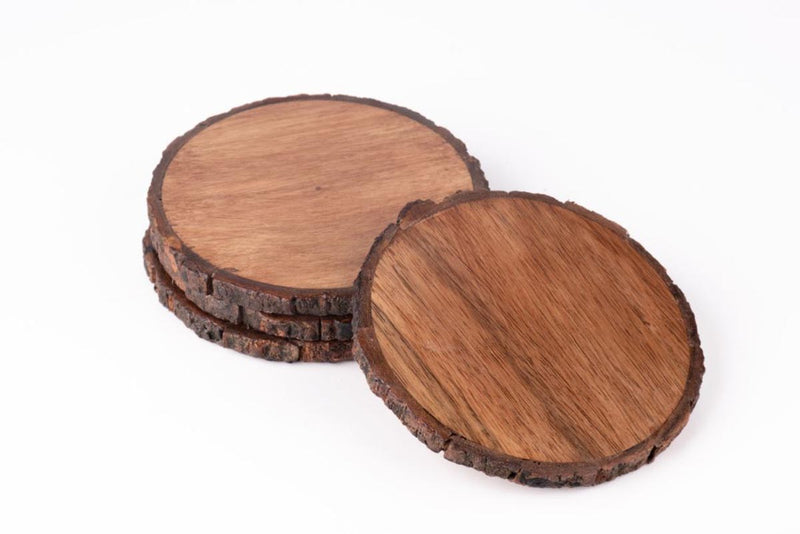 Coasters - Wooden Bark - Set Of 4-DINING + KITCHEN-PropShop24.com