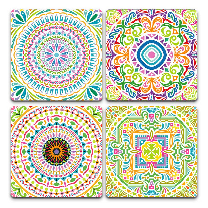 Coasters - Colourful Mandala Pack | Set Of 4-BAR + PARTY-PropShop24.com