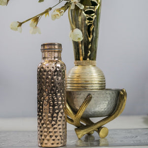 Bottles - Rose Gold - Copper Bottle Hammered Finish - 950Ml-DINING + KITCHEN-PropShop24.com