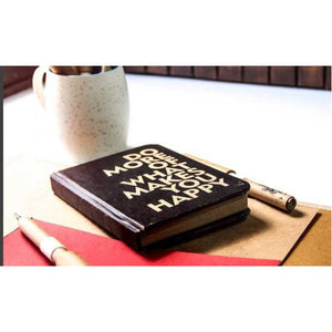 Vintage Notebook - Do More Of What Makes You Happy(Black)-NOTEBOOKS + JOURNALS-PropShop24.com