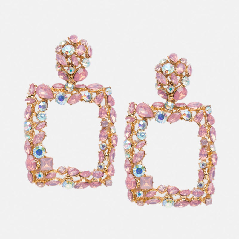Rayen Pink Rhinestone Earrings-EARRINGS-PropShop24.com