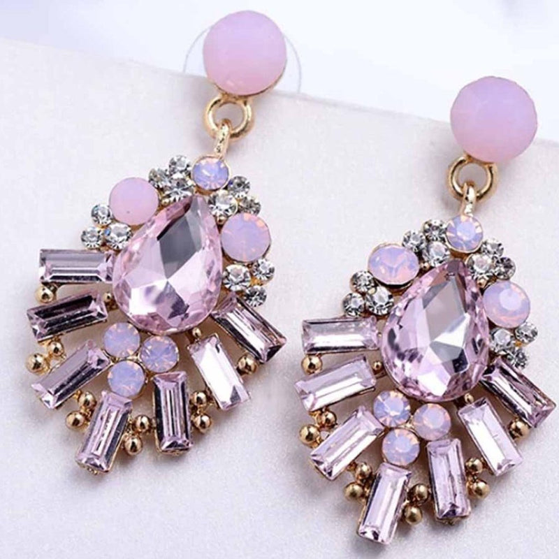Crisiant Pink Rhinestone Earrings-EARRINGS-PropShop24.com