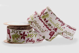 Ribbon - Burgandy Christams words-STATIONERY-PropShop24.com
