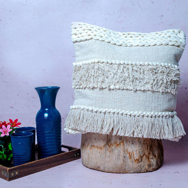 Cushion Cover - Cream Braided And Tasselled-HOME ACCESSORIES-PropShop24.com