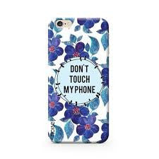 phone cover - blue - floral - donÌ_å«t touch my phone-Gadgets-PropShop24.com
