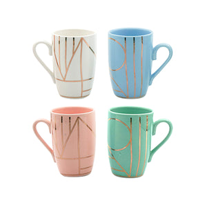 Cups And Saucers - Pastel Gold Pattern - Set Of 4-DINING + KITCHEN-PropShop24.com
