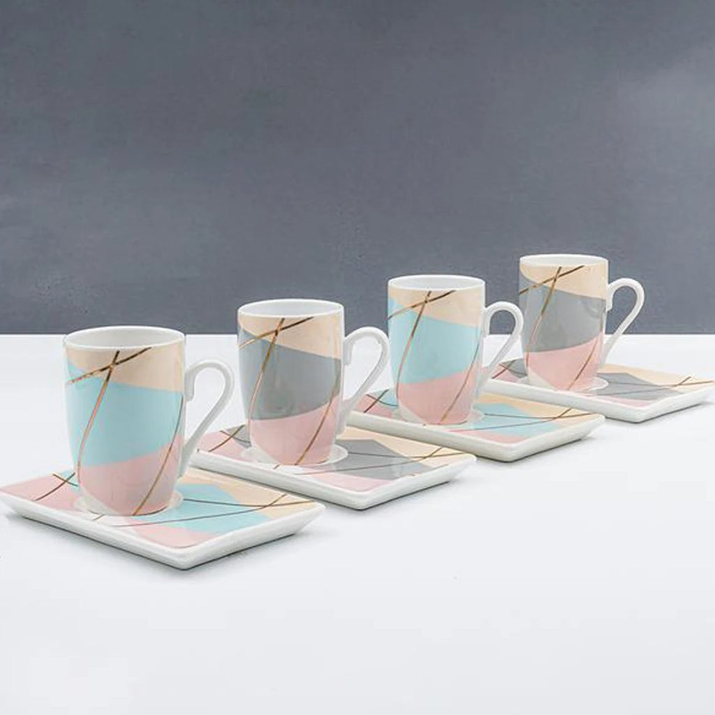 Cup And Saucers - Geometric Block Pattern - Set Of 4-DINING + KITCHEN-PropShop24.com