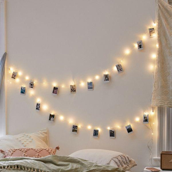 quality design 8c639 cc26d Copper Quirky Photo Clip String Lights with Wooden Clips -30 Bulb 8m Warm  White