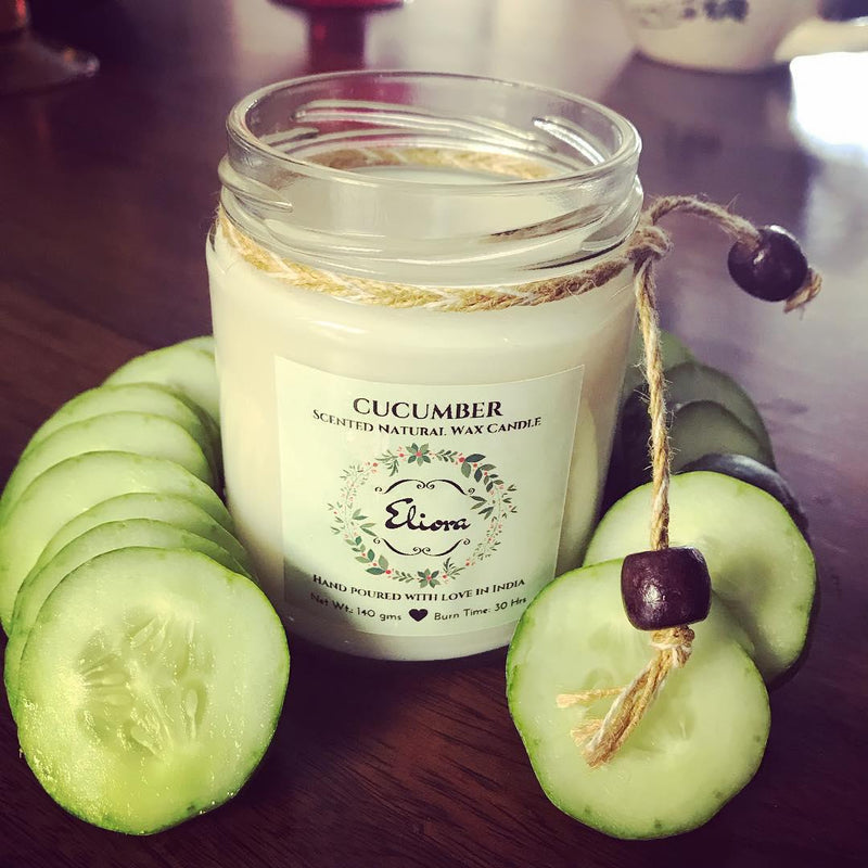 Cucumber Scented Natural Wax Candle-CANDLES + AROMA-PropShop24.com