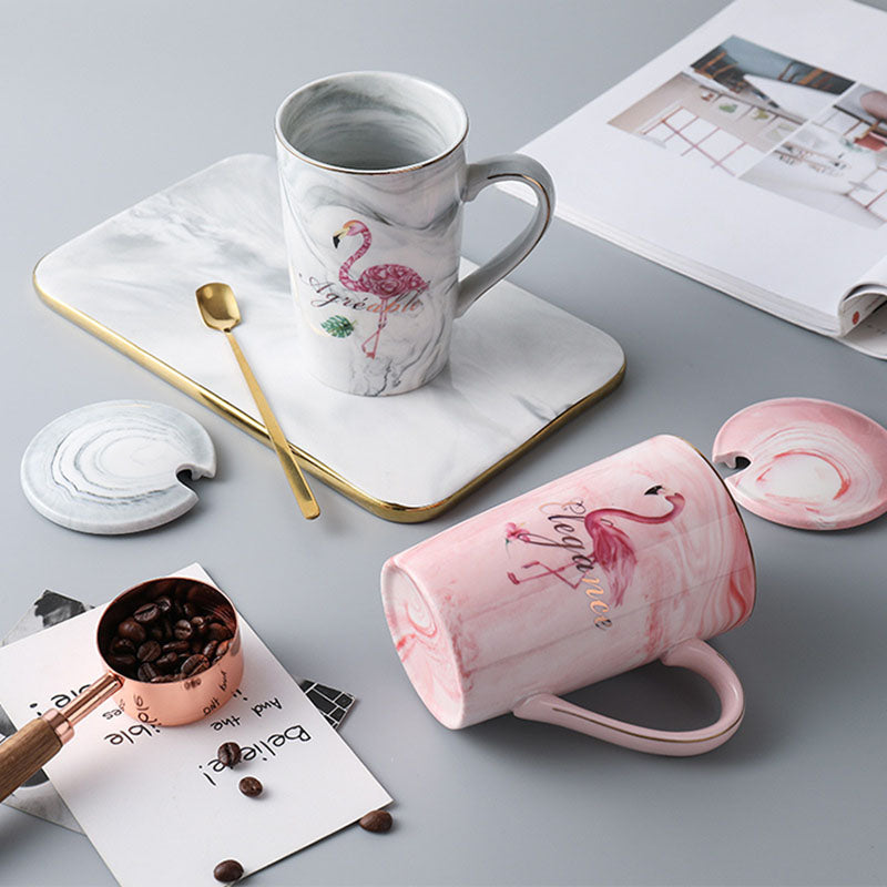 Flamingo Print Ceramic Mug With Lid And Spoon-DINING + KITCHEN-PropShop24.com